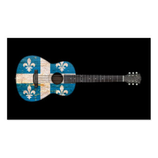 Aged and Worn Quebec Flag Acoustic Guitar black Business Cards