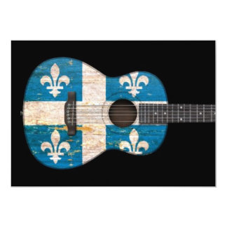 Aged and Worn Quebec Flag Acoustic Guitar, black 5x7 Paper Invitation Card