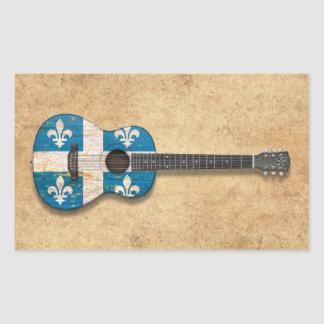 Aged and Worn Quebec Flag Acoustic Guitar Rectangular Sticker