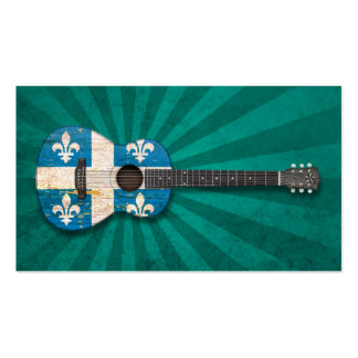 Aged and Worn Quebec Flag Acoustic Guitar teal Business Cards