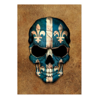 Aged and Worn Quebec Flag Skull Business Card Template
