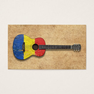 Aged and Worn Romanian Flag Acoustic Guitar Business Card