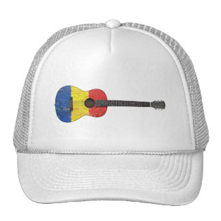Aged and Worn Romanian Flag Acoustic Guitar Hats