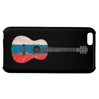 Aged and Worn Russian Flag Acoustic Guitar, black Case For iPhone 5C
