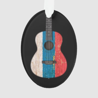 Aged and Worn Russian Flag Acoustic Guitar, black Ornament