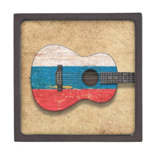 Aged and Worn Russian Flag Acoustic Guitar Premium Jewelry Box