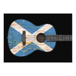 Aged and Worn Scottish Flag Acoustic Guitar, black Card
