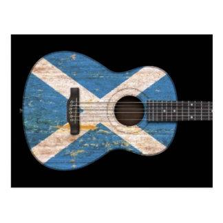 Aged and Worn Scottish Flag Acoustic Guitar, black Postcard