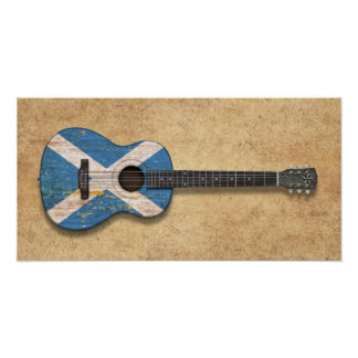 Aged and Worn Scottish Flag Acoustic Guitar Poster