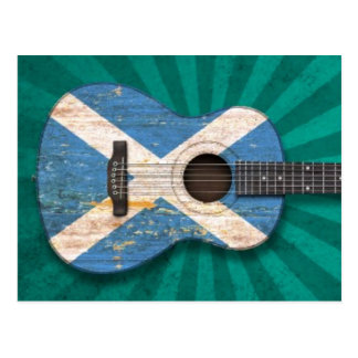 Aged and Worn Scottish Flag Acoustic Guitar, teal Postcard