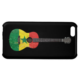 Aged and Worn Senegal Flag Acoustic Guitar, black Case For iPhone 5C