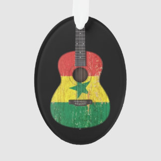 Aged and Worn Senegal Flag Acoustic Guitar, black Ornament