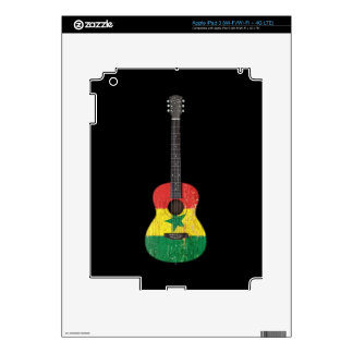 Aged and Worn Senegal Flag Acoustic Guitar black iPad 3 Decals