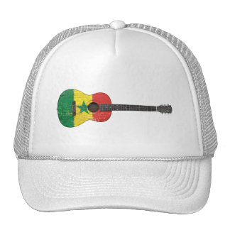 Aged and Worn Senegal Flag Acoustic Guitar Hats