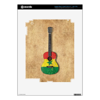 Aged and Worn Senegal Flag Acoustic Guitar Decals For iPad 3
