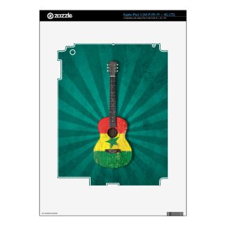 Aged and Worn Senegal Flag Acoustic Guitar teal Skins For iPad 3