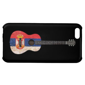 Aged and Worn Serbian Flag Acoustic Guitar, black iPhone 5C Case