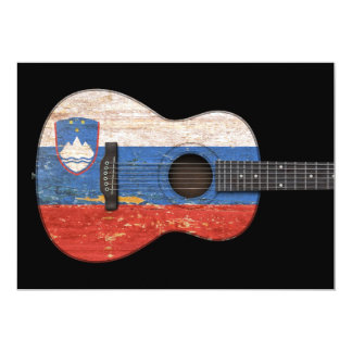 Aged and Worn Slovenian Flag Acoustic Guitar, blac Card