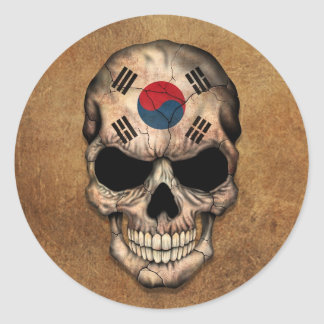 Aged and Worn South Korean Flag Skull Round Stickers