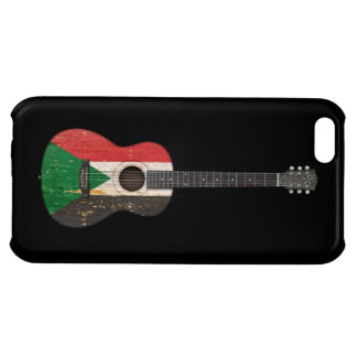 Aged and Worn Sudanese Flag Acoustic Guitar, black Case For iPhone 5C