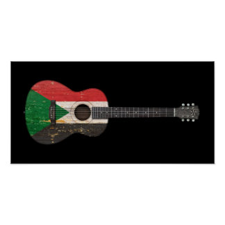 Aged and Worn Sudanese Flag Acoustic Guitar, black Poster