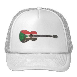 Aged and Worn Sudanese Flag Acoustic Guitar Hat