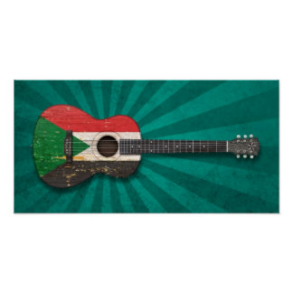 Aged and Worn Sudanese Flag Acoustic Guitar, teal Poster