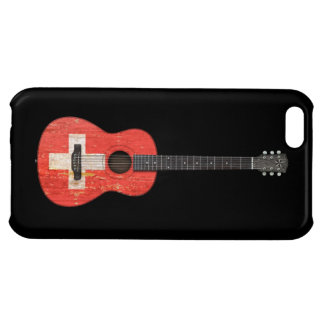 Aged and Worn Swiss Flag Acoustic Guitar, black iPhone 5C Cover