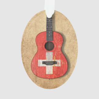 Aged and Worn Swiss Flag Acoustic Guitar Ornament