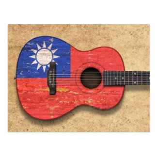 Aged and Worn Taiwanese Flag Acoustic Guitar Postcard