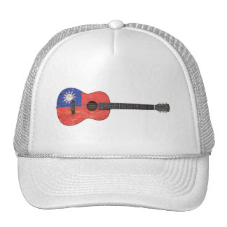 Aged and Worn Taiwanese Flag Acoustic Guitar, teal Hats