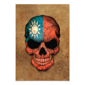 Aged and Worn Taiwanese Flag Skull 3.5x5 Paper Invitation Card