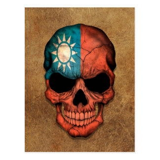 Aged and Worn Taiwanese Flag Skull Postcard