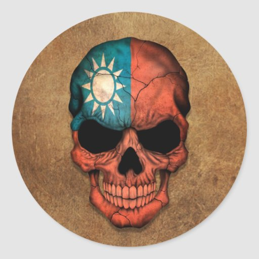 Aged and Worn Taiwanese Flag Skull Round Stickers
