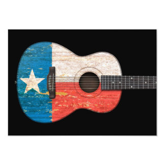 Aged and Worn Texas Flag Acoustic Guitar, black Invites
