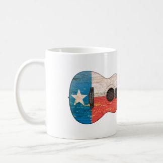 Aged and Worn Texas Flag Acoustic Guitar Coffee Mug