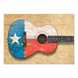 Aged and Worn Texas Flag Acoustic Guitar Invite