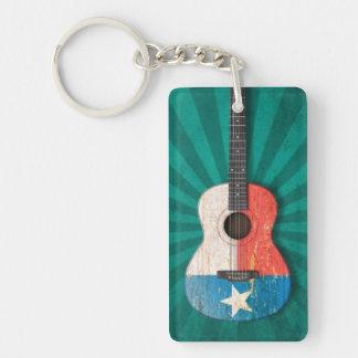 Aged and Worn Texas Flag Acoustic Guitar, teal Double-Sided Rectangular Acrylic Keychain