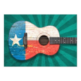 Aged and Worn Texas Flag Acoustic Guitar, teal Personalized Announcements