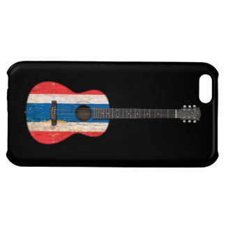 Aged and Worn Thai Flag Acoustic Guitar, black Cover For iPhone 5C