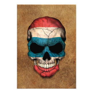Aged and Worn Thai Flag Skull Personalized Invites