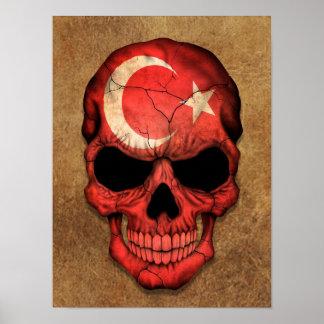 Aged and Worn Turkish Flag Skull Print