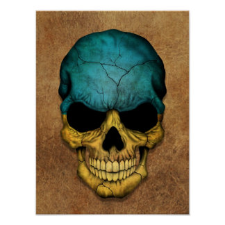 Aged and Worn Ukrainian Flag Skull Posters
