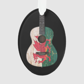 Aged and Worn Welsh Flag Acoustic Guitar, black