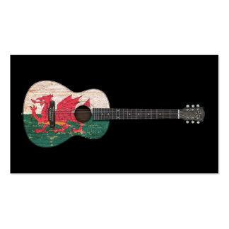 Aged and Worn Welsh Flag Acoustic Guitar, black Business Cards