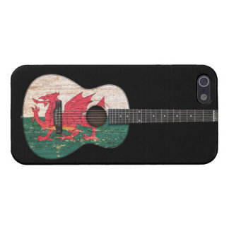 Aged and Worn Welsh Flag Acoustic Guitar, black iPhone 5/5S Case