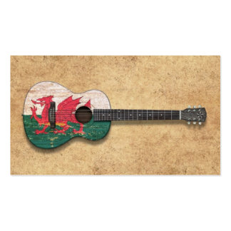 Aged and Worn Welsh Flag Acoustic Guitar Business Card Templates