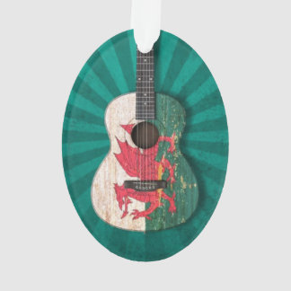 Aged and Worn Welsh Flag Acoustic Guitar, teal