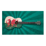 Aged and Worn Welsh Flag Acoustic Guitar, teal Business Card Templates
