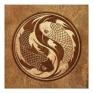 Aged and Worn Yin Yang Koi Fish Card